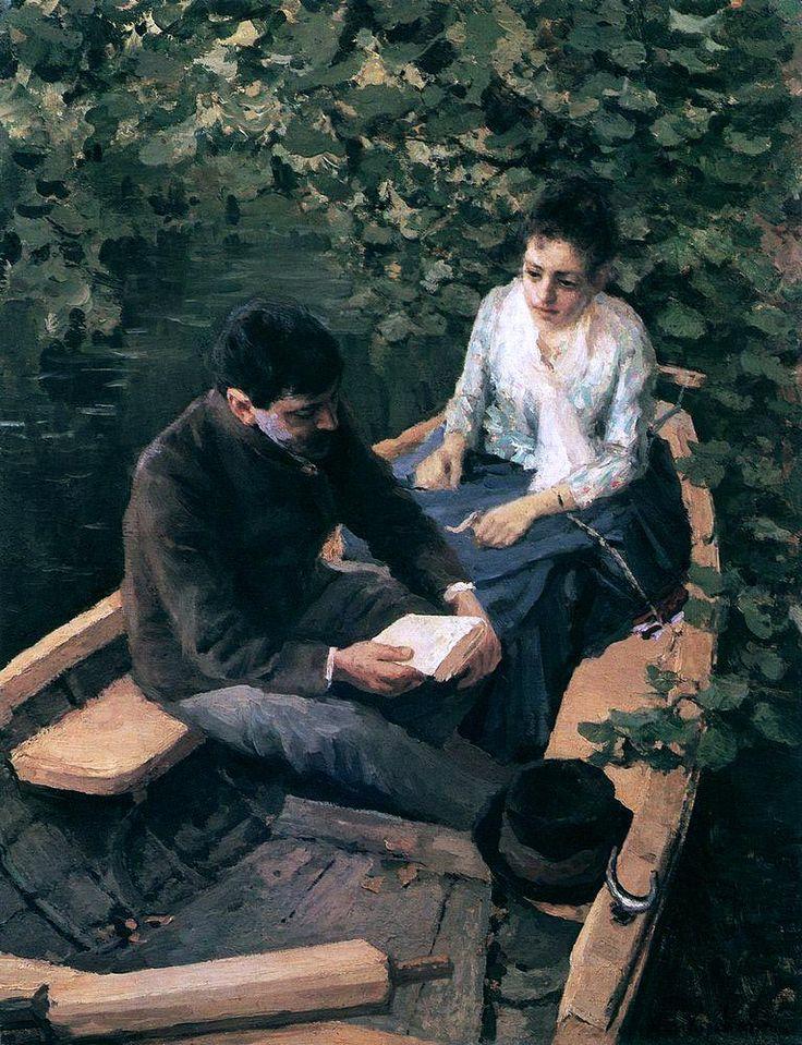 Константин Коровин «В лодке». Описание картины
