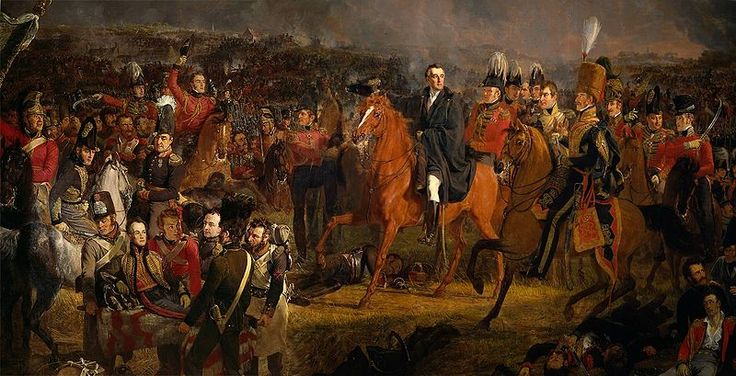 The Battle of Waterloo,18 June 1815,detail showing the Duke of Wellington on horseback.1824:Jan Willem Pieneman.In the background the battle is raging.The people portrayed include Lord Uxbridge,Sir Rowland Hill,Staff Colonel Sir William Delancey,Major-General George Cooke,Colonel Harvey, Colonel Campbell,lieutenant-general Don Miquel de Alava,lieutenant-colonel F.C.Ponsonby,Major William Thornhill,Jean Victor,baron De Constant de Rebeque,Colonel Sir John Elley,lieutenant-colonel Aberson,