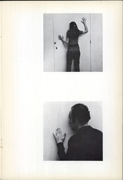 """Comfort Zones, Allan Kaprow.  - A and B, pressing against either side of a closed door.- Trying to fit the outline of each other.- Saying when that fit seems close, only """"now"""".- Repeating again & again until certain."""