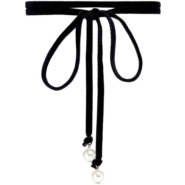 Joomi Lim 'Victorian Romance' Swarovski pearl wraparound velvet choker... found on Polyvore featuring jewelry, necklaces, chokers, black, choker necklace, white pearl necklace, twisted pearl necklaces, victorian pearl necklace and velvet choker necklace