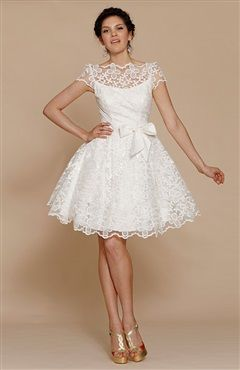 Best  us Illustion Neckline Vintage Style Short Lace Wedding Dress Style Code Order here