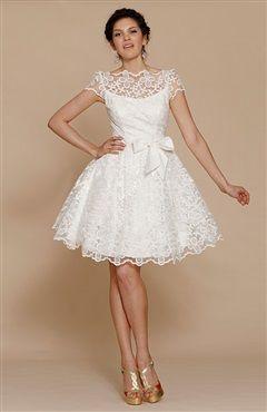 50s Illustion Neckline Vintage Style Short Lace Wedding Dress Code 15443 148 Order Here