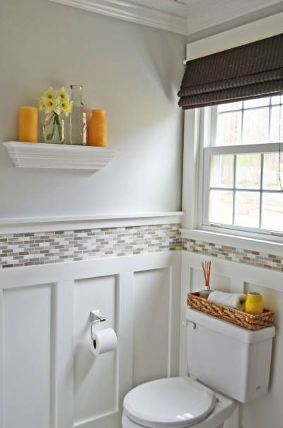 Interesting wainscoting idea combo of board and batten and tile