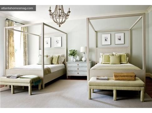 """phoebe howard- love the idea of two queen beds in the room. It has that """"hotel"""" feel I love. You could probably do this with two double beds if you didn't have enough space for queens."""