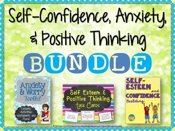 This is a bundle focused on helping students build self-confidence, increase positive thinking skills, and reduce anxiety and worrying. The materials are a blend of printable no-prep worksheets, activities, lessons, and task cards. This bundle would be extremely valuable to social workers, guidance/school counselors, special education teachers, school psychologists, and even regular education teachers aiming to help students with anxiety and low self-esteem.SAVE Over 20% With the…
