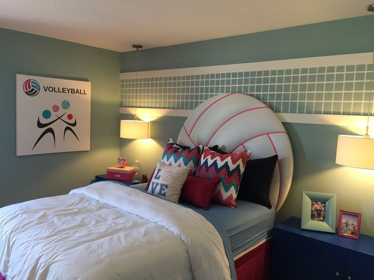 Girl's Volleyball bedroom, volleyball headboard