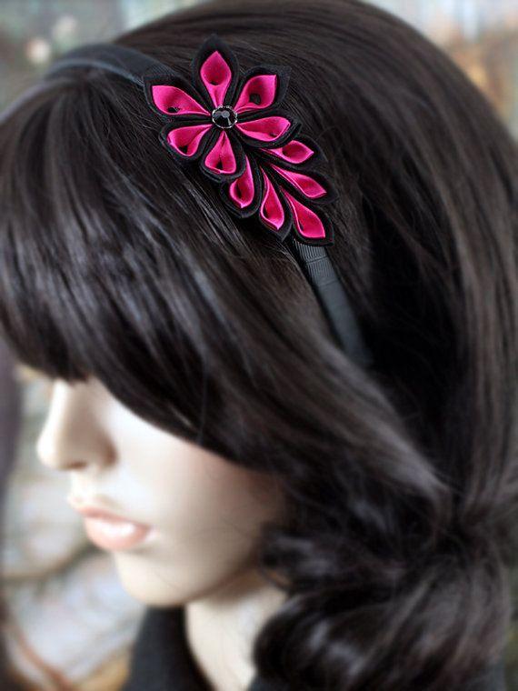 Diadema flor rosa y negro: accesorios para el cabello por PetalMix