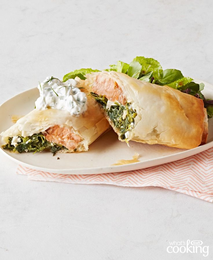 Wrapped Salmon with Spinach and Feta #recipe