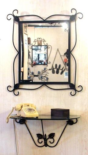 Wrought iron mirror and consolle