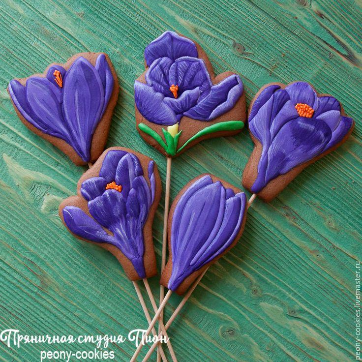 Купить Пряничный букет Крокусы - имбирные пряники, имбирные пряники купить, имбирные пряники на заказ