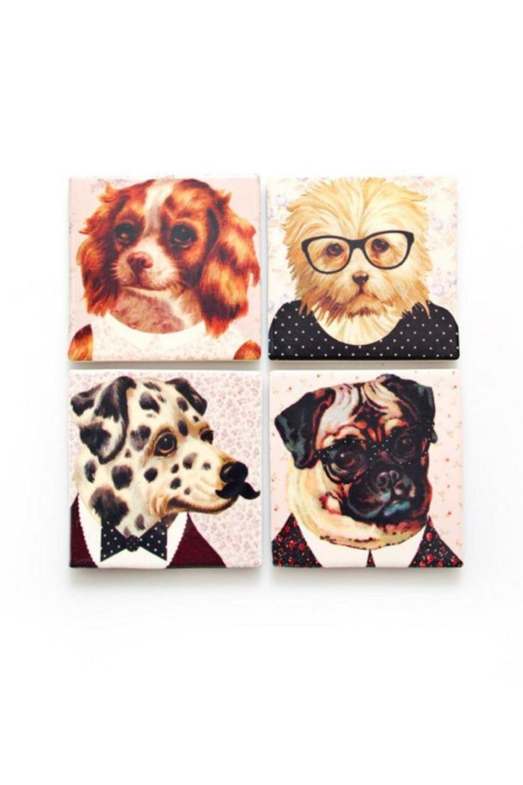 """Woof! Say hello to our fancy pants dressed-up cat coasters! The set of four, each coaster with an individual design. These kooky coasters make a great housewarming gift for any dog lover. The undersides of these coasters are made with cork so there's no chance of spillages when using these funky coasters. The pack of four coasters comes giftboxed.    Measures: 10 cm x 10 cm / 3.93"""" x 3.93""""   Dressed-Up Dog Coasters by Pink Poodle Boutique. Home & Gifts - Home Decor - Dining - Table…"""