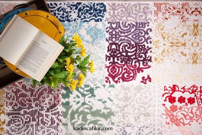 Yeni sezon İstikbal marka Moda serisi multi colour renkli desenli kesik hav açık renk halı modeli | Kadınca Fikir