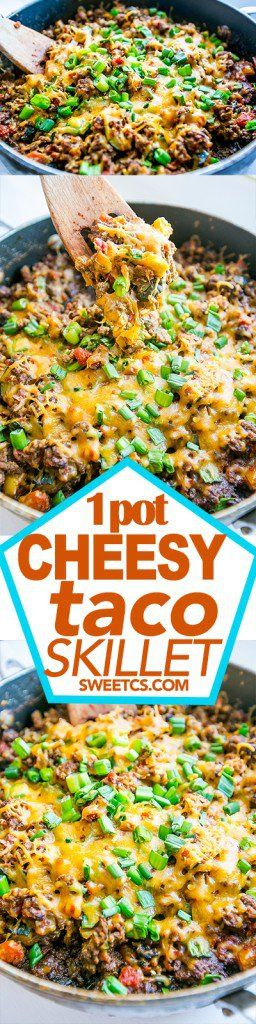 1 pot cheesy taco skillet- this low carb skillet dinner is so good over salad, in a burrito, or on it's own!