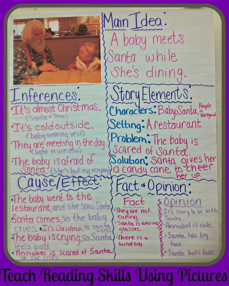 Using Pictures to teach Key Reading Skills.  Main Idea, Inferences, Story Elements, Cause/Effect, Fact & Opinion.