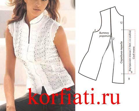 Очаровательная блузка без рукавов из расшитого в технике ришелье батиста просто создана для лета. Выкройка блузки без рукавов - очень простая - бесплатно!