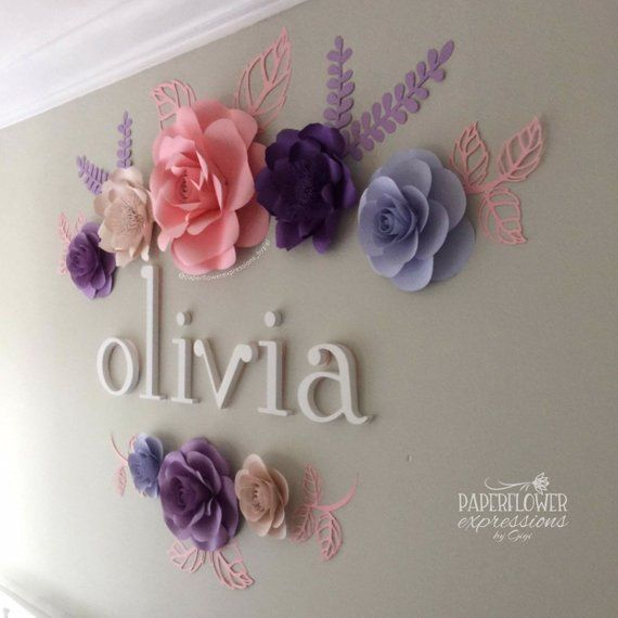 Pink And Purple Roses Nursery Decor Pink And Purple Flower Etsy In 2020 Paper Flowers Pink Nursery Decor Large Paper Flowers