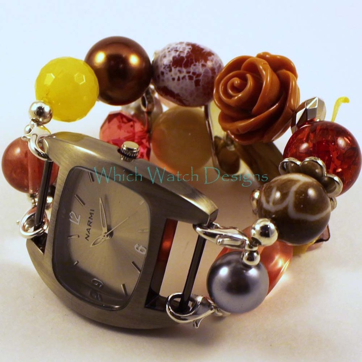 Interchangeable Beaded Watch Band, Fall Floral