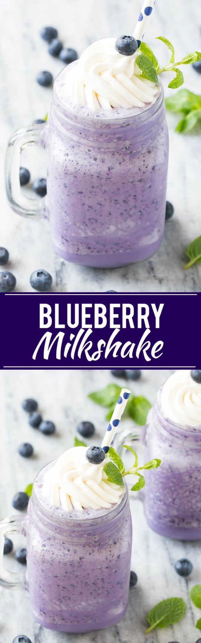 This recipe for a blueberry milkshake is a cool treat that's on the lighter side - this milkshake has 70% less calories than the original version!
