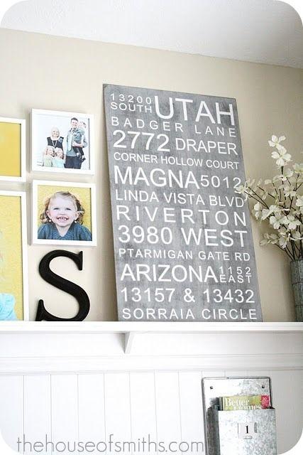 Printing on vinyl- subway signs: Wall Art, Idea, Subway Art, Address Subway, Subwayart, Photo Walls