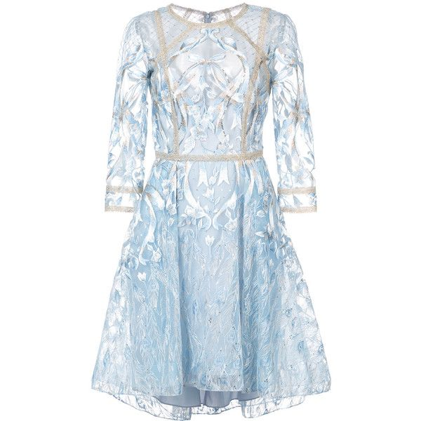 Marchesa Notte floral embroidered mesh dress ($1,431) ❤ liked on Polyvore featuring dresses, blue, embroidery dresses, blue floral dress, 3/4 sleeve dress, floral skater skirts and mesh dress