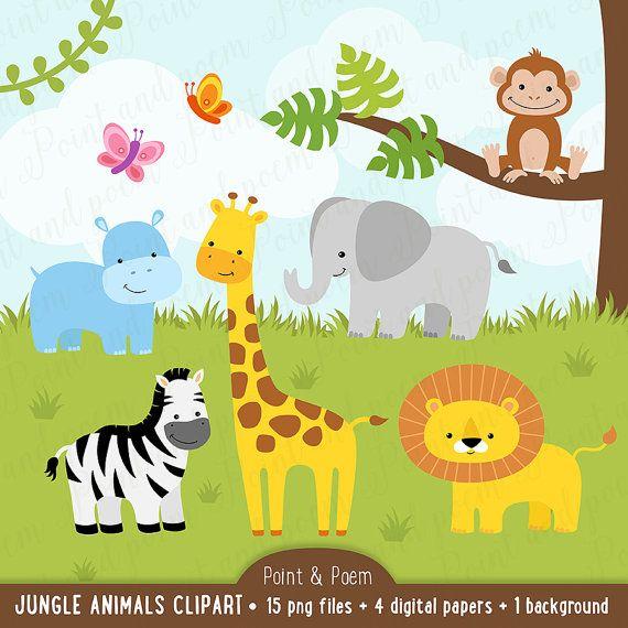 Jungle clip art , Animals clip art, Digital Papers, Baby ...
