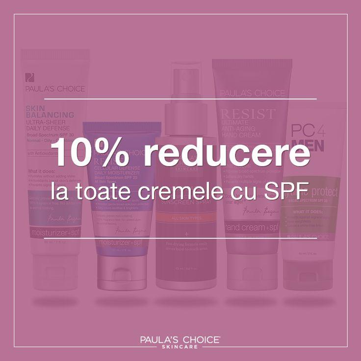 Cremele hidratante cu SPF Paula's Choice te protejează de efectele nocive ale radiațiilor UVA și UVB având, de asemenea, un ingredient suplimentar: antioxidanţii. Aceștia asigură funcționarea adecvată a pielii și un aspect sănătos al acesteia. Nu mai sta pe gânduri, profită de ultimele 3 zile de reduceri și alege produsul perfect de protecţie solară pentru față și corp!