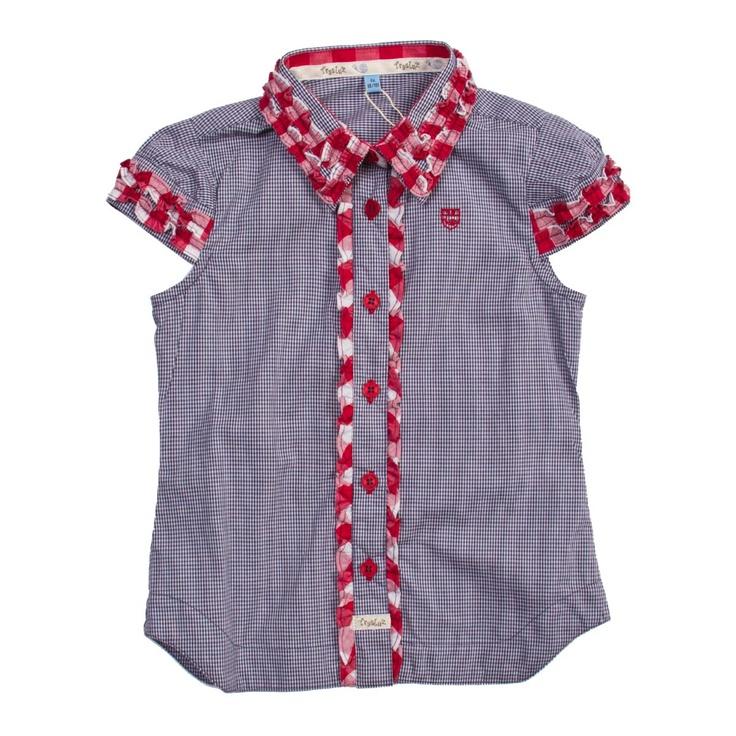 Blusa con relieve manga corta micro vichy niña
