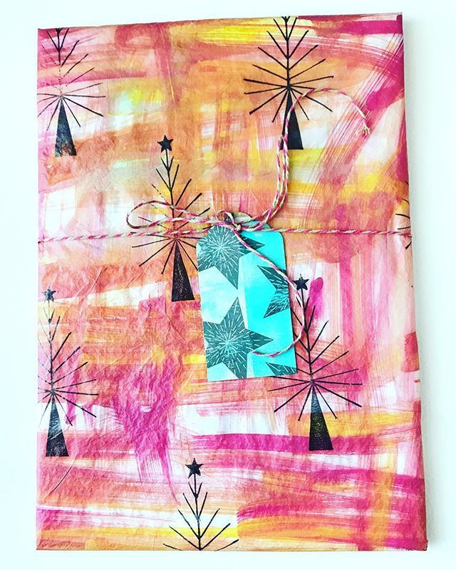 Hand painted and stamped tissue wrapping paper
