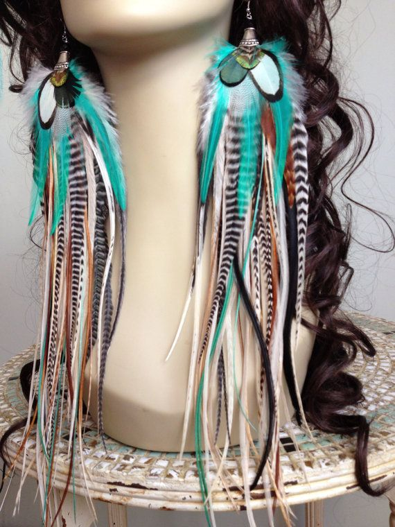 13 inch Feather Earrings Long Natural Turquoise by PrettyVagrant, $76.50