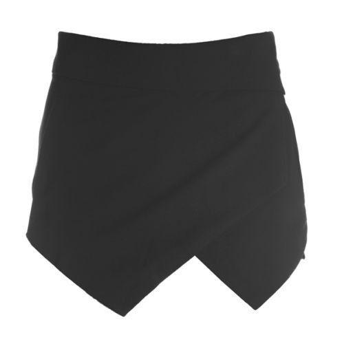 Black White Asymmetrical Geometric Shape Irregular Shorts Invisible Zipper Skorts Wrap Mini Skirts