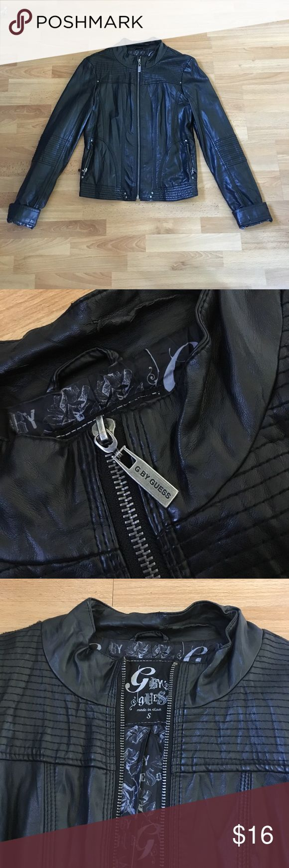 """Faux Leather jacket G by GUESS Leather jacket """"G by Guess."""" The faux jacket is in great condition, picture of the model with the jacket is not the same exact jacket as the one that is for sale but it IS similar in style. G by Guess Jackets & Coats Utility Jackets"""