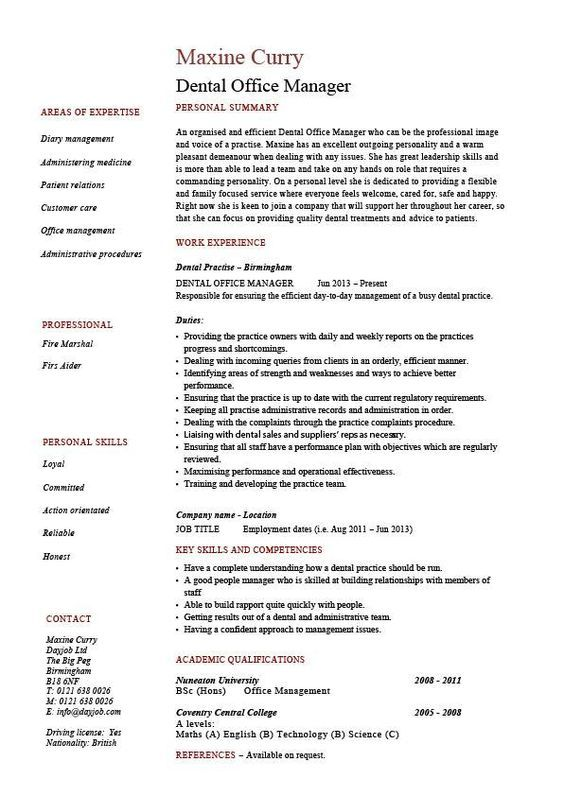 Dental office manager resume, example, sample, template, dentist, teeth, CV, job description