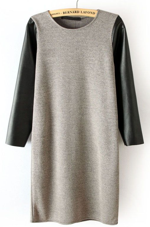 Grey Contrast Leather Sleeve Dress