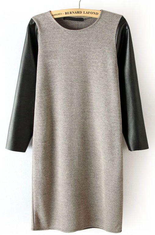 Grey Contrast Leather Sleeve Dress