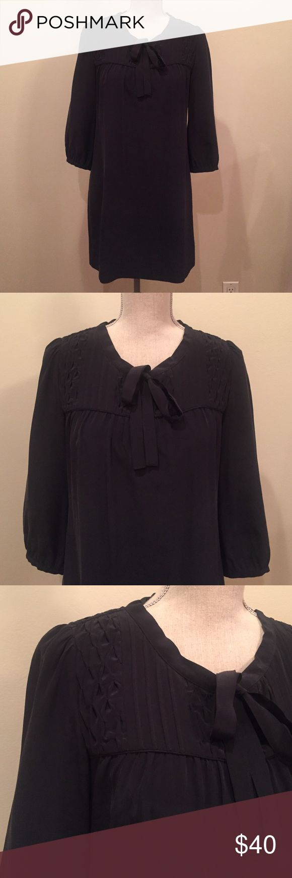 "Joie dress💐 MARKDOWN! Joie black 100% silk shift dress. 3/4 sleeve and tie front. Length 32""  sleeve 18"" shoulders 14"" Joie Dresses Midi"