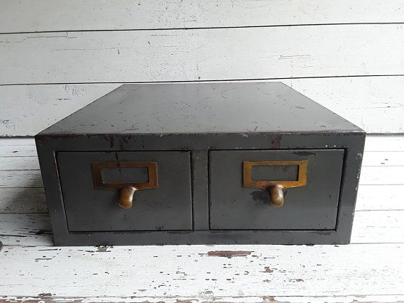 Vintage Two Drawer Metal File Box Storage Container Library Index Card Holder Army Green Filing Cabine Library Card Holder Index Card Holders Storage Boxes