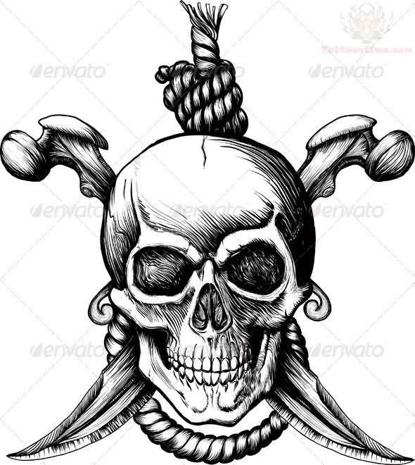 Grey Ink Pirate Skull Tattoo Design Picture