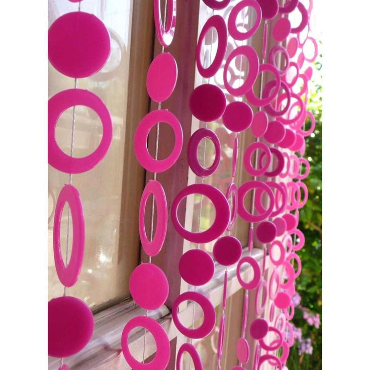 pink circle bead curtains for doors
