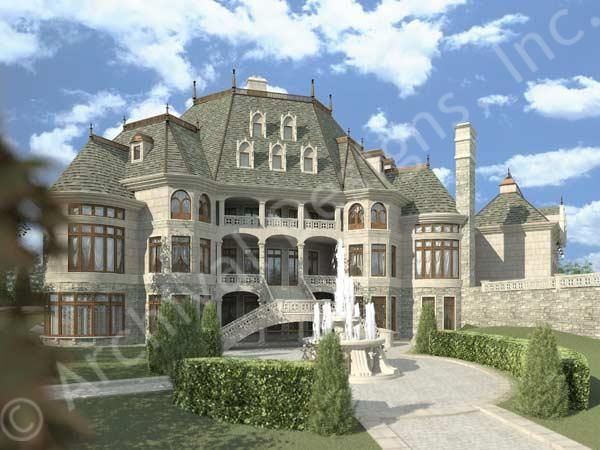 Chateau novella luxury house plan small castle plan Luxury estate house plans