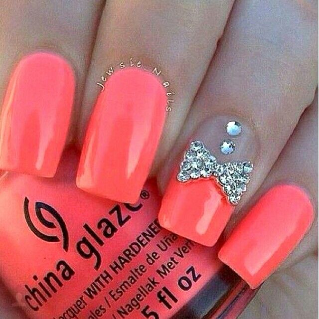 Coral Nails with Bow. I love them!!