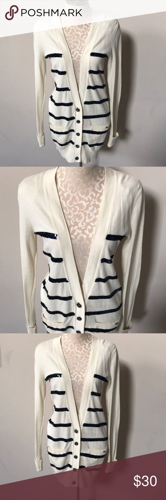 Victoria's Secret PINK Sequin Cardigan Creme Cardigan with royal blue Sequin stripes. Worn one time.  Excellent condition. PINK Victoria's Secret Sweaters Cardigans