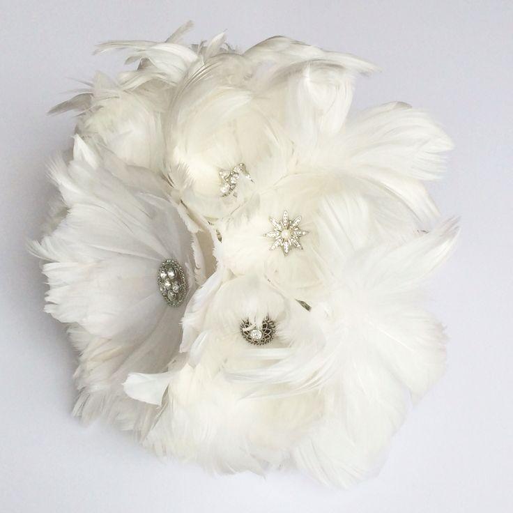 Feather bouquet with diamanté buttons by Florio Designs