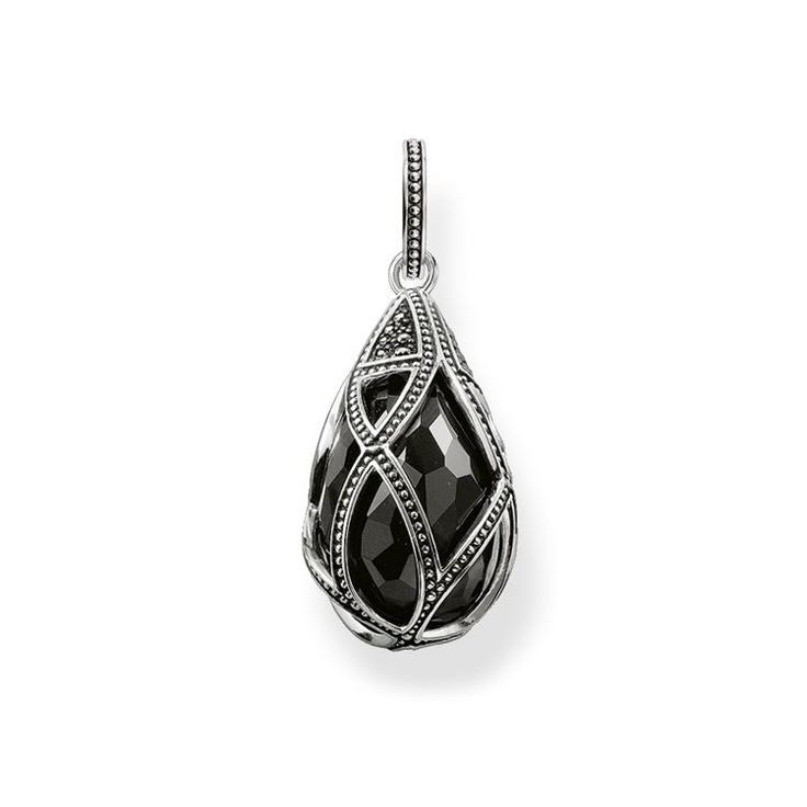 THOMAS SABO Pendant from the Sterling Silver Collection. Pendant with eyelet - 925 Sterling silver, blackened - black zirconia-pavé, onyx Size: ca. 2,8 cm Filigree, structured lines crafted from blackened 925 Sterling silver gently envelop the artfully-faceted, drop-shaped onyx, which sparkles intensely with its glittering pavé zirconia accents, radiating magically in the process.