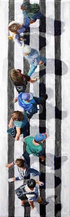 Original art for sale at UGallery.com | Pedestrians 2014-21 by Jim Zwadlo | acrylic painting | 18' h x 6' w