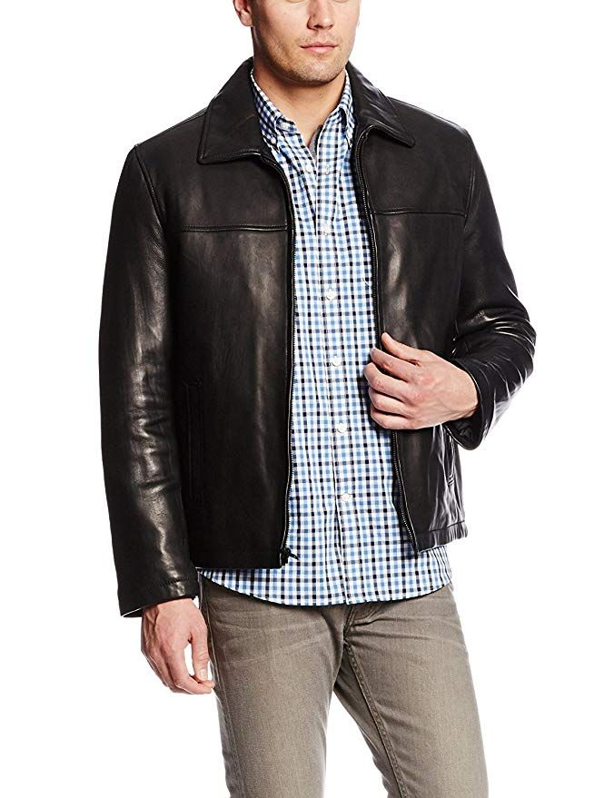 Tommy Hilfiger Mens Genuine Lamb Leather Flight Bomber Jacket Leather Jacket