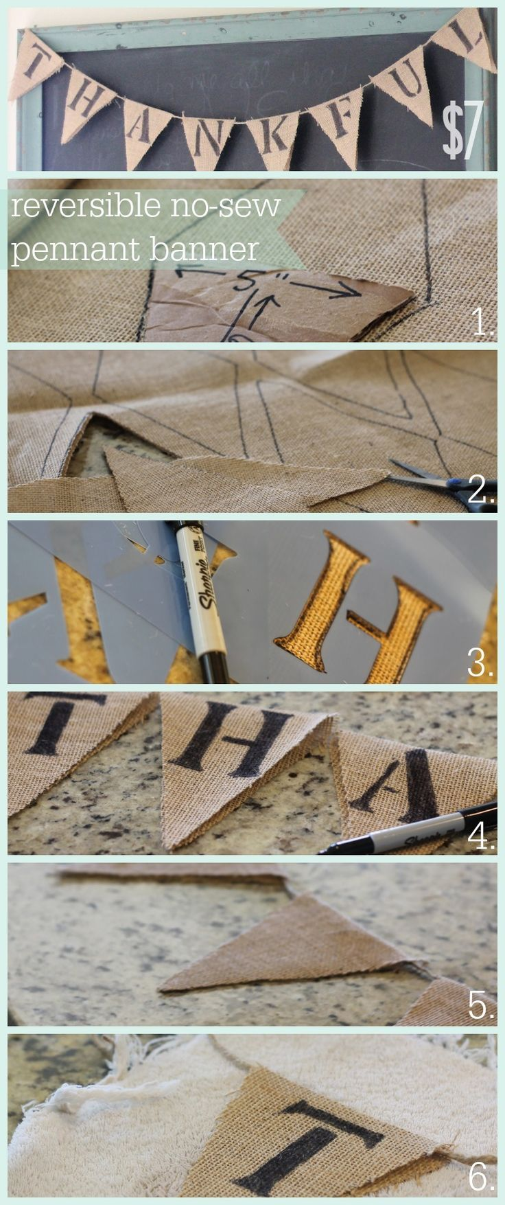 Super easy burlap pennant banner - only $7! All you need is burlap, a sharpie marker, a letter stencil and hot glue gun. Perfect for fall!