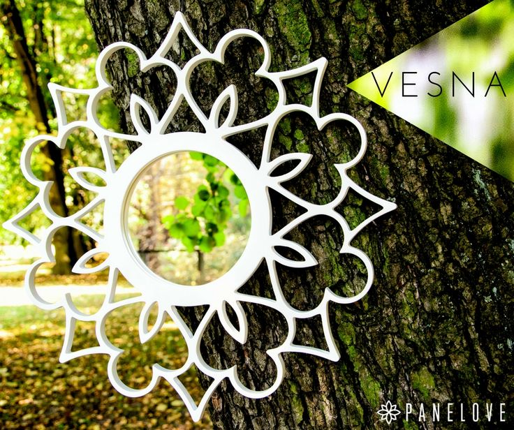 Meet Vesna - elegant mirror for flower design lovers. Available in four colours: white, black, silver and gold . Each sanded manually. Created by PANELOVE.