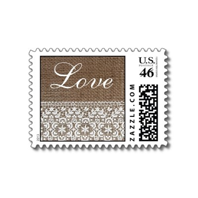 Simple Burlap and Lace Wedding or Love Postage Stamps