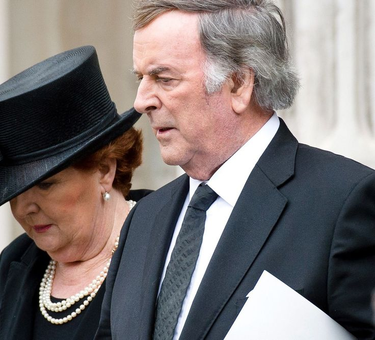 """Helen Wogan (wife of Sir Michael Terence """"Terry"""" Wogan - a KBE DL dual citizen British-Irish radio and television broadcaster who has worked for the BBC in the United Kingdom) at Maragaret Thatcher's funeral."""