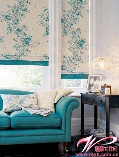 I like the strip of solid color added to the bottom of these flat roman shades.